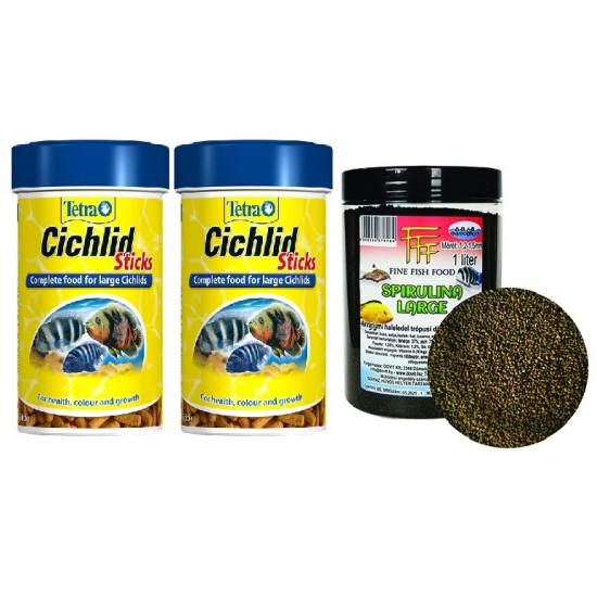 Haltáp - Malawi combo 2db 500ml Tetra cichlid sticks + Spirulina Large 1000 ml